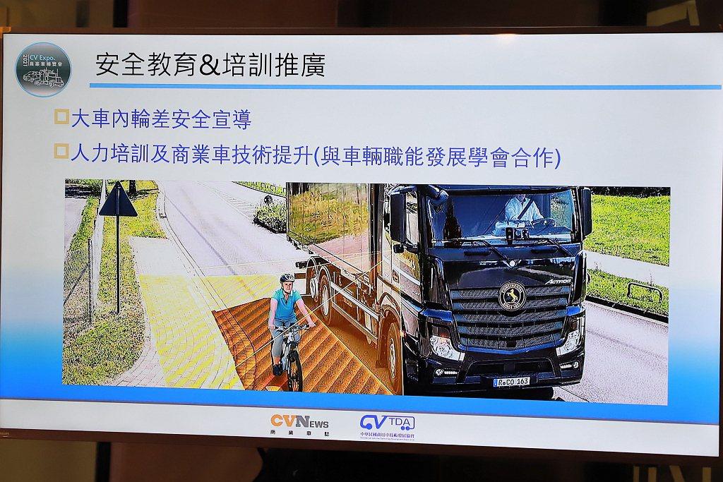 商用車博覽會獲得交通部協助大會開闢「商業車行車安全宣導專區」,展示內輪差及行車盲...