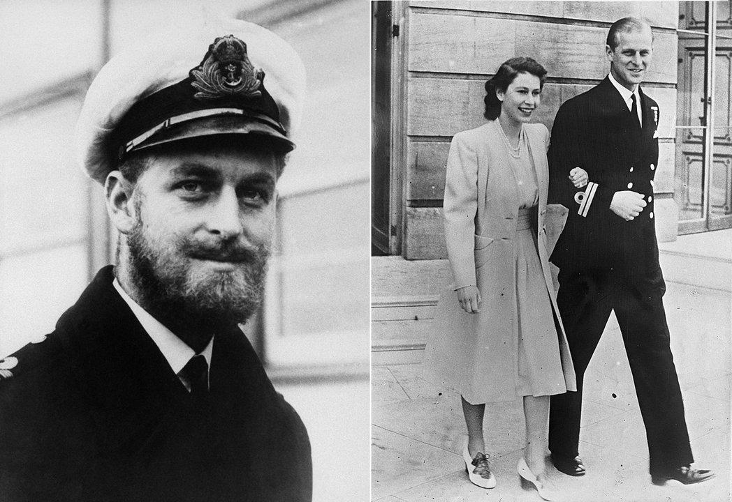 圖左為1945年在英國海軍服役的菲利浦,圖右則是1947年菲利浦與日後成為女王伊...