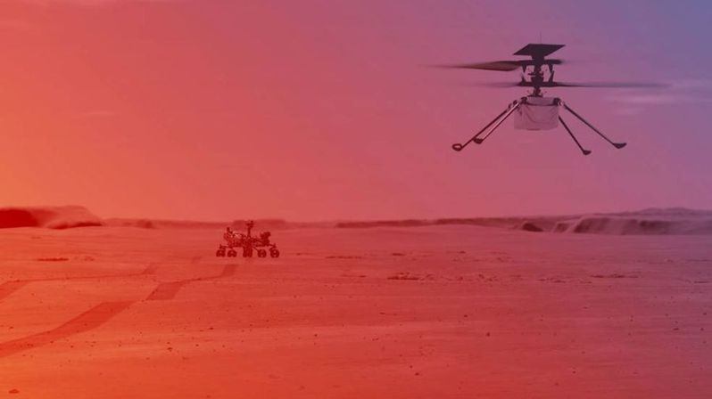 NASA首度讓太空直升機在火星上試飛。(Photo from網路截圖)
