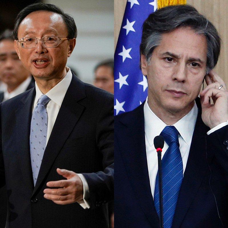 中美高層會議讓世人見識到形象一向溫和的中共中央外事辦主任楊潔篪(左)如何變身戰狼,而美國國務卿布林肯也未遑多讓。路透、美聯社