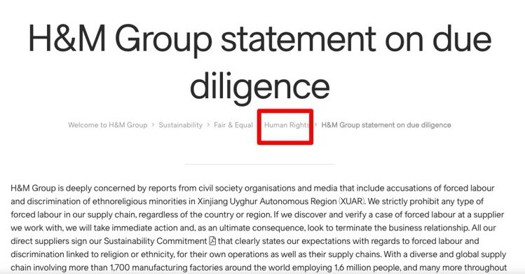 H&M集團核實調查聲明列在官網永續發展的欄目下的「人權」一類。圖/摘自H...