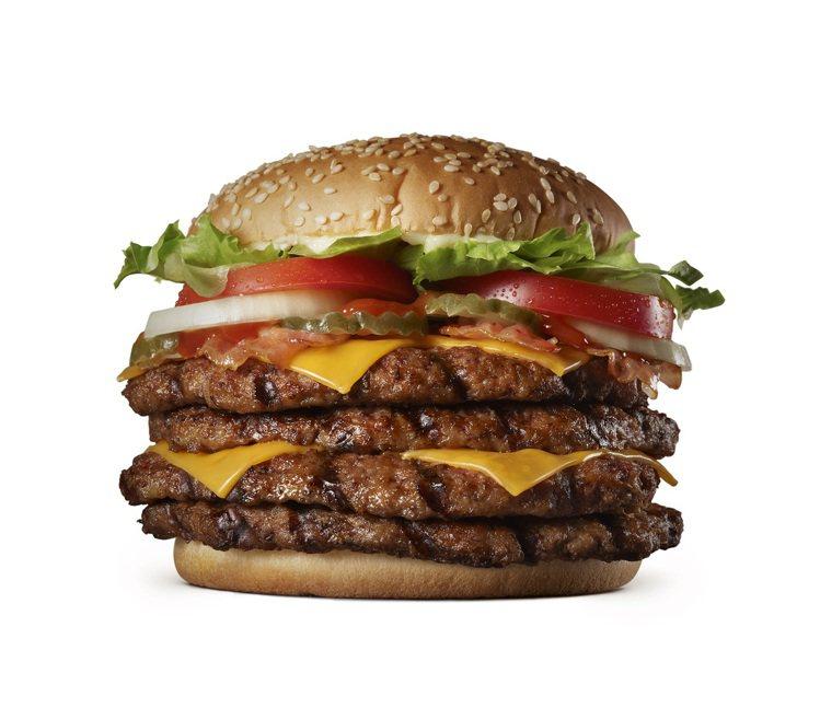 超級重磅牛肉堡自4月1日至4月5日限時販售,單點289元,套餐329元。圖/漢堡...