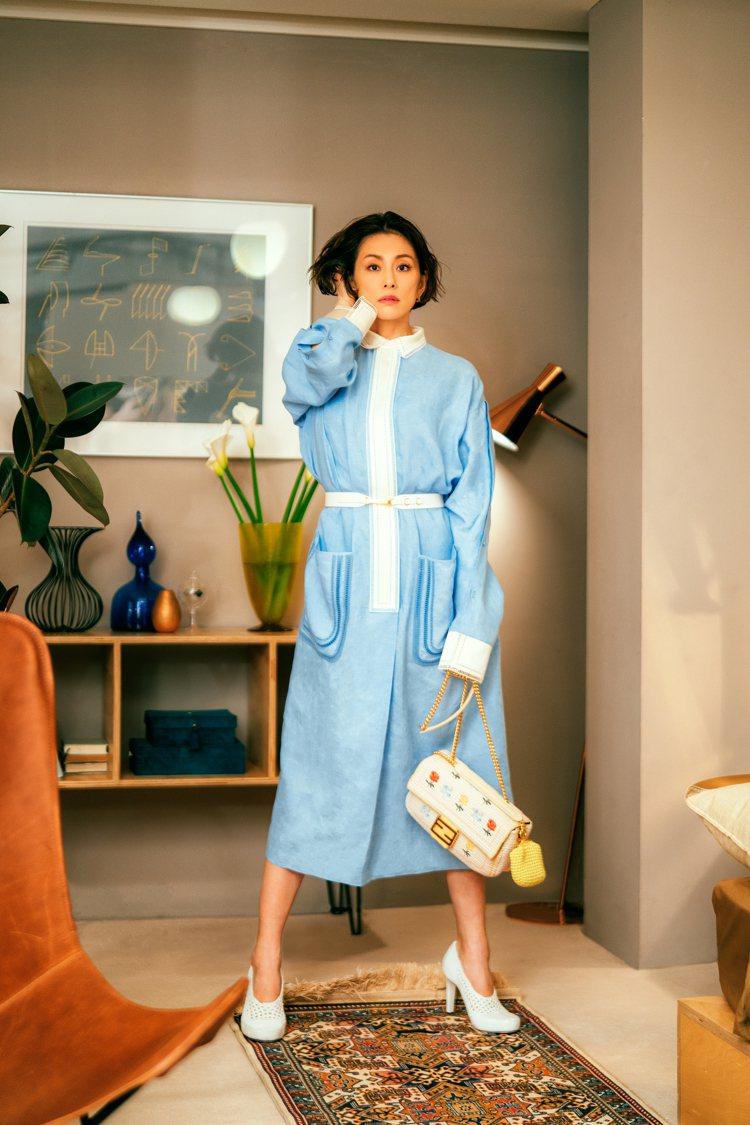 米倉涼子身穿FENDI亞麻造型洋裝10萬6,000元。圖/FENDI提供