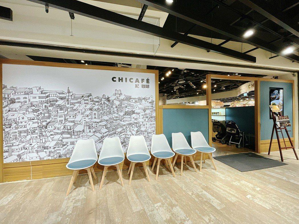 板橋車站「紀咖啡」新開幕,店裝走文青插畫風。圖/環球購物中心提供