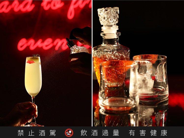 12杯特色調酒都從經典戀愛電影得到靈感,左為「P.S I Love You」、右...