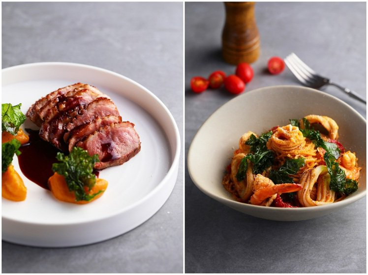 主食份量與口味的「法式鴨胸佐櫻桃波特紅酒醬與香料地瓜泥」(左)與「酒家女狠蝦天使...