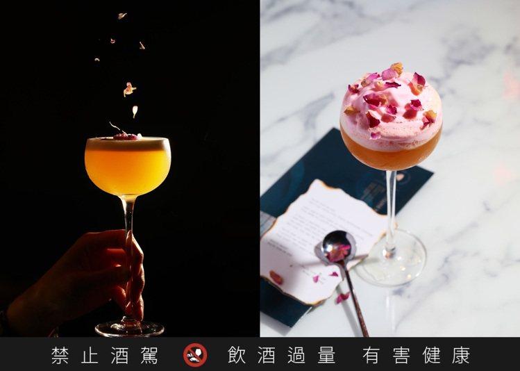 「一見鍾情」(左)是以桂花、綠豆蔻搭配柳橙,另外「情書」(右)則是店內超熱必點,...