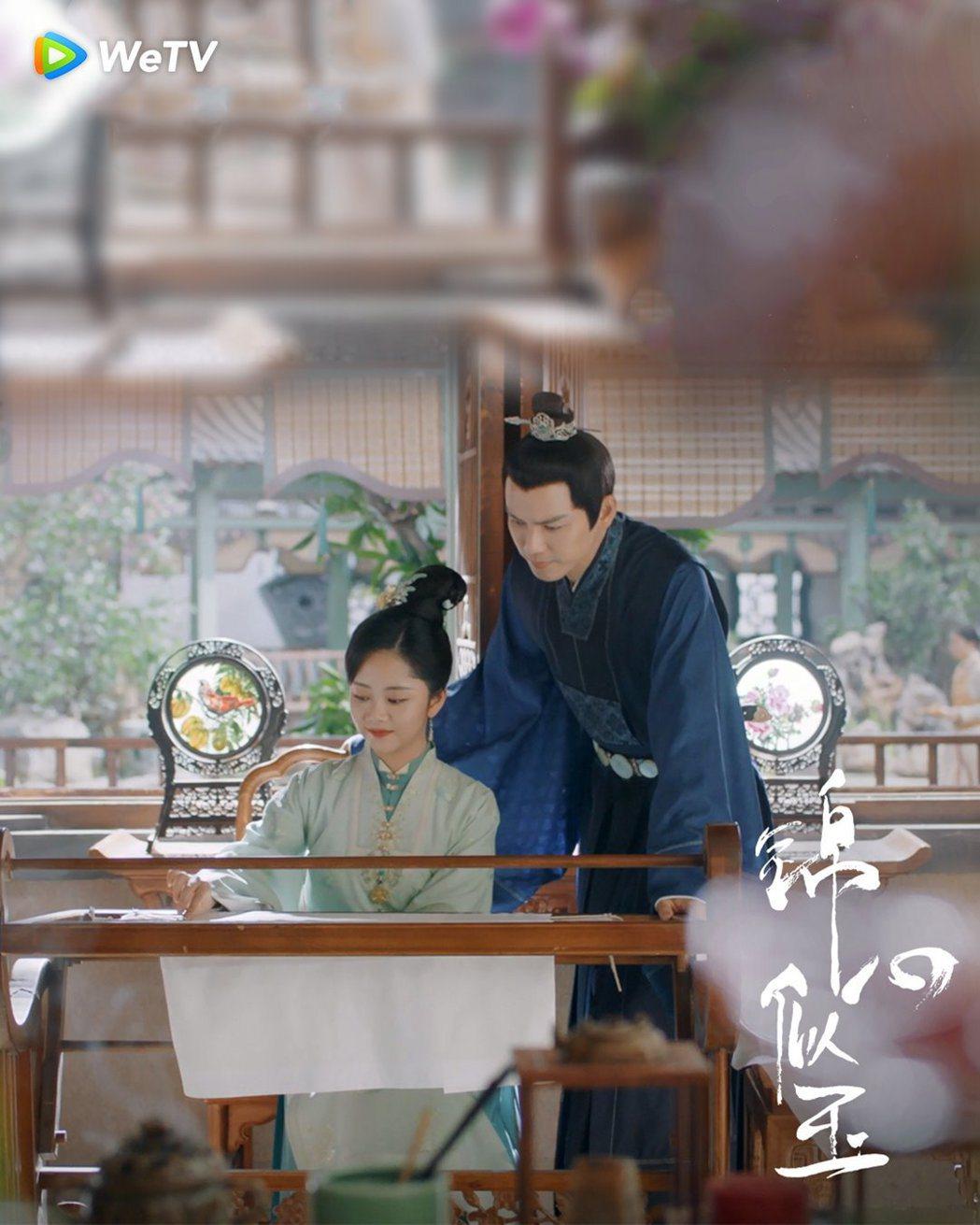 譚松韻(左)、鍾漢良在「錦心似玉」中甜蜜升級。圖/WeTV海外站提供