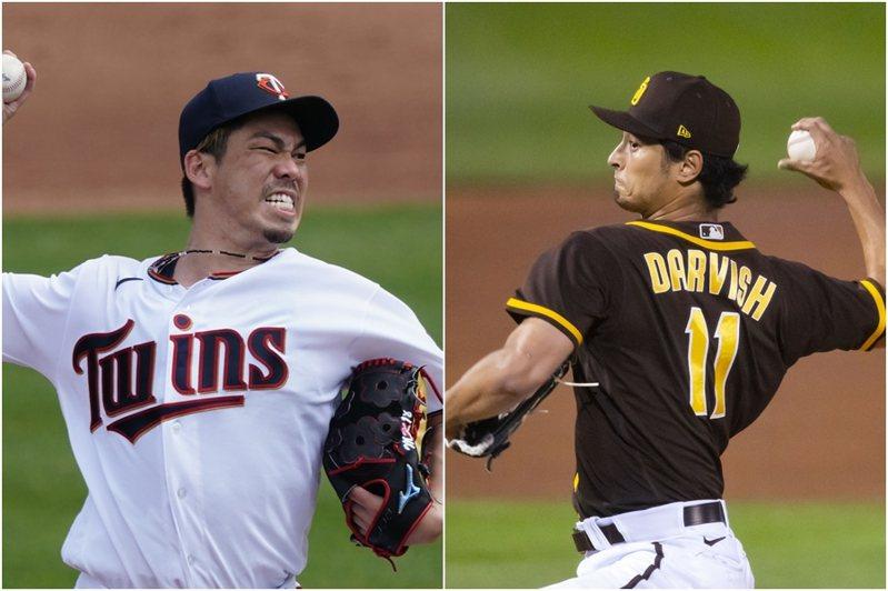 前田健太(左)與達比修有兩名日籍投手同日主投開幕戰先發,是大聯盟史上第一次。 美聯社、路透