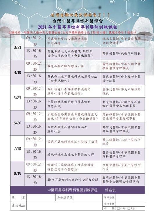 台灣中醫耳鼻喉科醫學會3~8月份的專科醫師訓練課程表。 台灣中醫耳鼻喉科醫學會/...