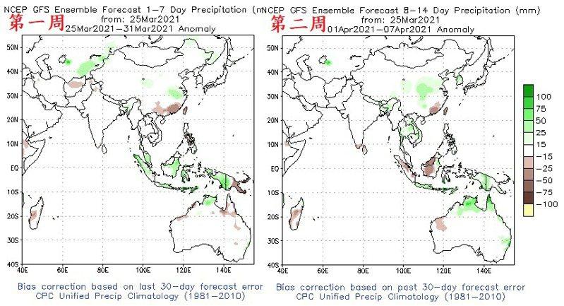 未來兩周降雨趨勢,棕色是偏乾,綠色是偏濕,台灣未來兩周都是棕色。圖/取自鄭明典臉書