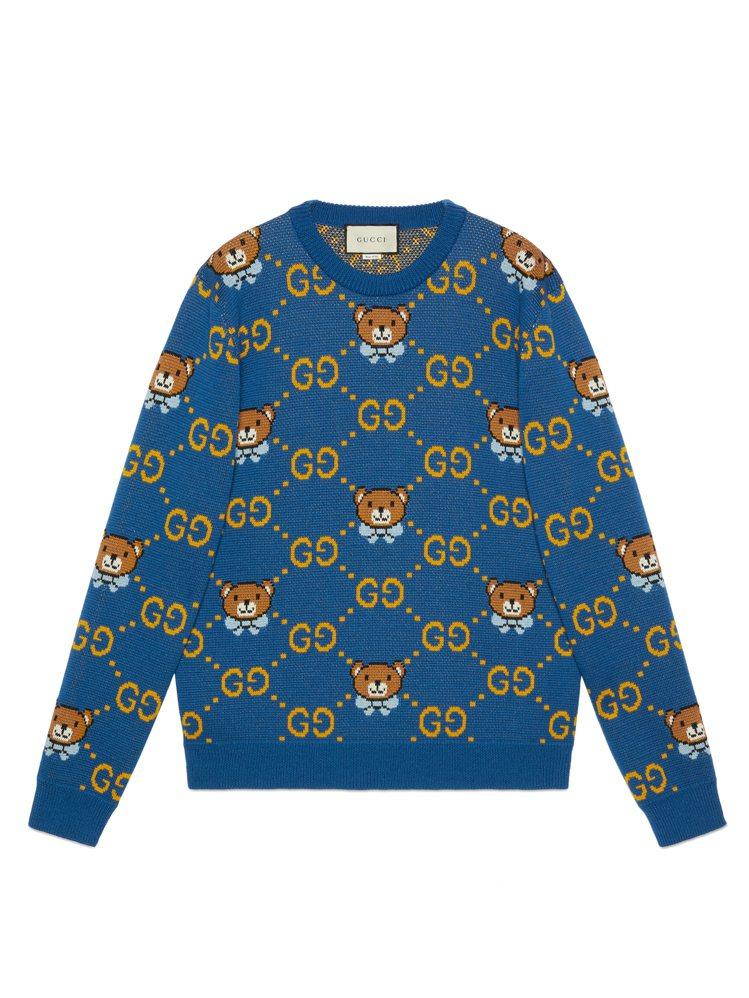 KAI × GUCCI聯名系列藍色針織毛衣,44,500元。圖/GUCCI提供
