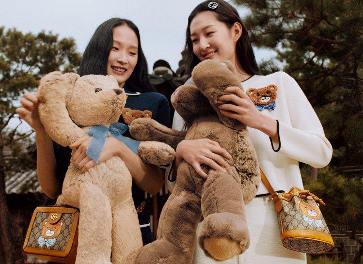 KAI × GUCCI聯名系列選擇以Kai最愛的泰迪熊為印花主角,為棕色的小熊佩...