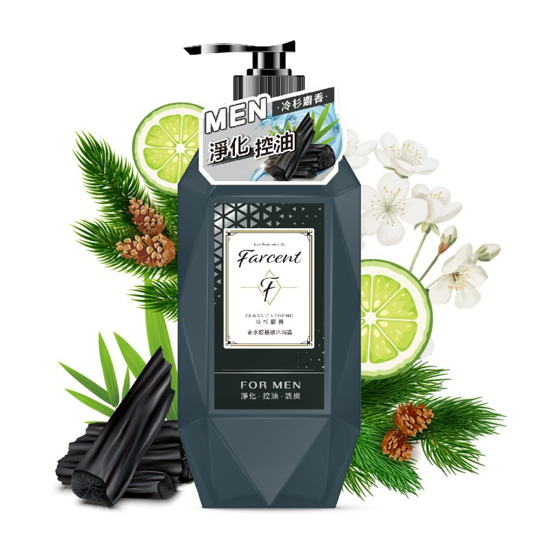 Farcent香水胺基酸沐浴露冷杉麝香/780g/369元。圖/Farcent提供