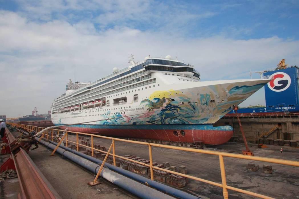 探索夢號郵輪今年初在台船進行歲修。圖/台船提供