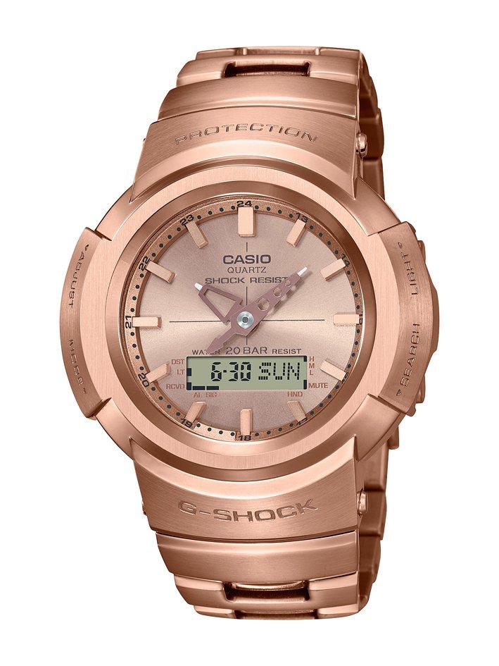 G-SHOCK AWM-500GD-4A腕表,鍍玫瑰金精鋼表殼、表鍊17,000元。圖/Casio提供
