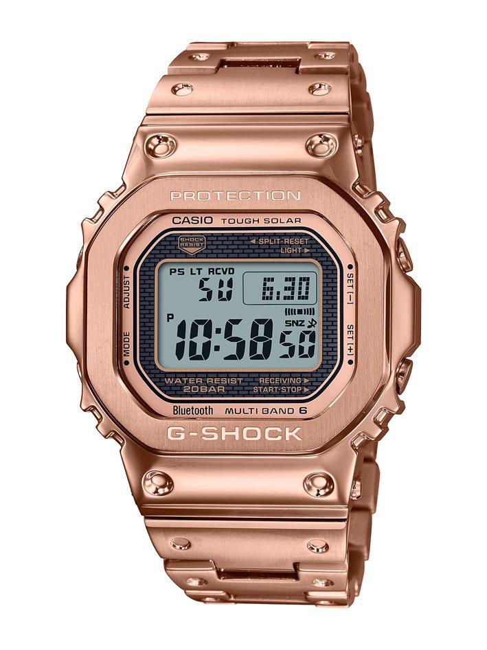 G-SHOCK GMW-B5000GD-4腕表,鍍玫瑰金精鋼表殼、表鍊17,000元。圖/Casio提供