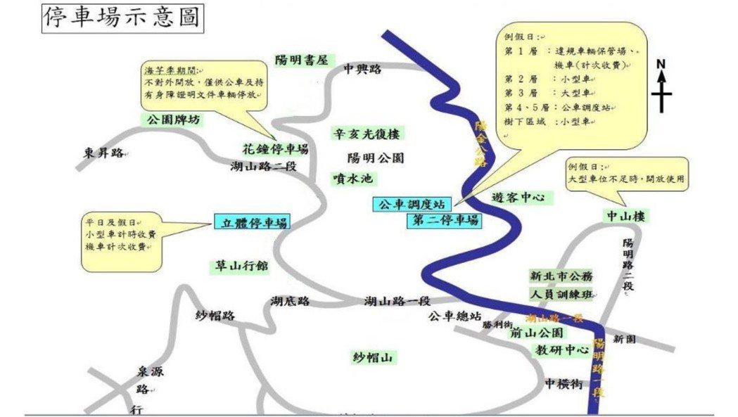 陽明山竹子湖交通管制圖。圖/北市交通大隊提供