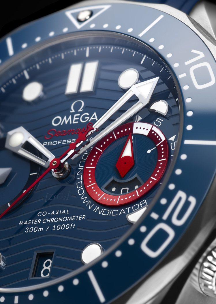 三點鐘方向的倒數計時次表盤,具有為帆船賽所設計的五分鐘倒數計時功能,紅、白雙色對...