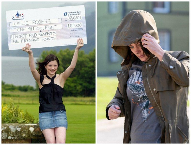 英國最年輕樂透得主羅傑斯2003年以16歲之齡獲得180萬英鎊(折合約7092萬台幣)彩金,但18年後已全數揮霍一空,現在靠著救濟金過活。左圖為中獎當時,右圖為今日的羅傑斯。畫面翻攝:The Sun