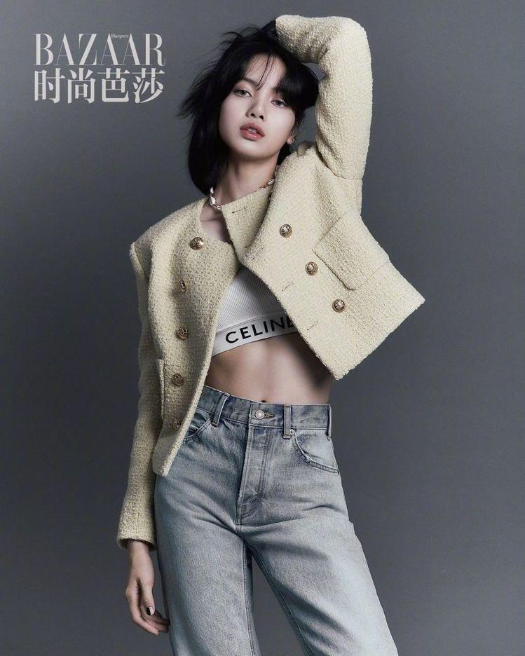 BLACKPINK的Lisa在大陸時尚芭莎的拍攝,和韓韶禧的封面形成左右對稱的相...