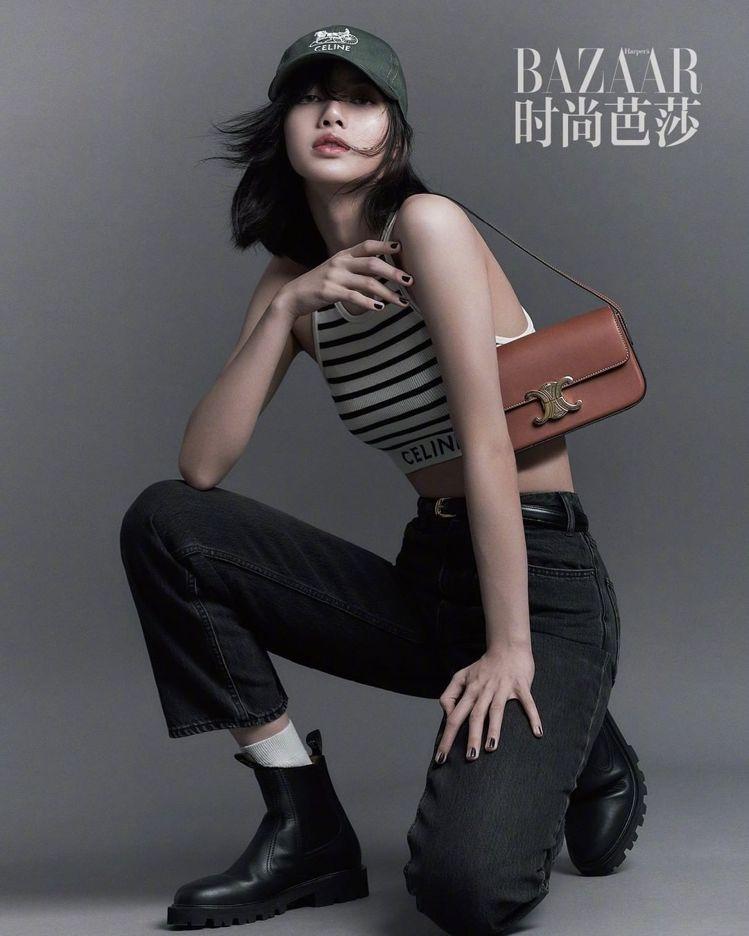 BLACKPINK的Lisa以CELINE春夏造型拍攝大陸時尚芭莎。圖/取自微博