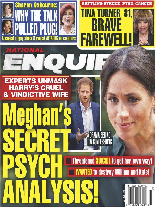 「國家循問報」以封面報導稱梅根的精神狀況有驚人內幕。圖/摘自National E...