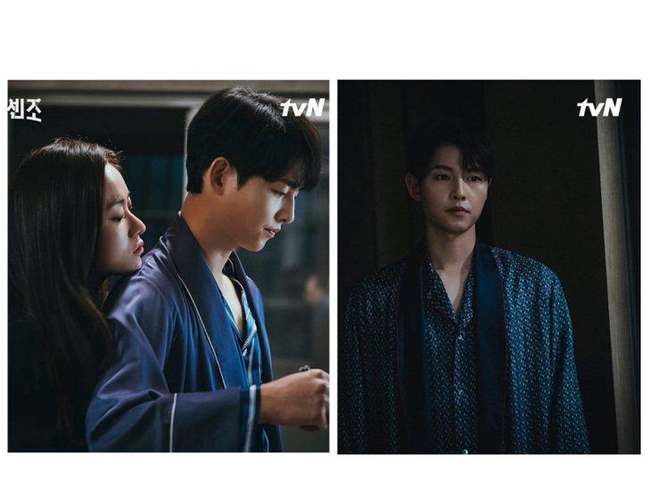 宋仲基在「黑道律師文森佐」的睡袍、睡衣穿搭相當迷人。圖/取自tvN IG