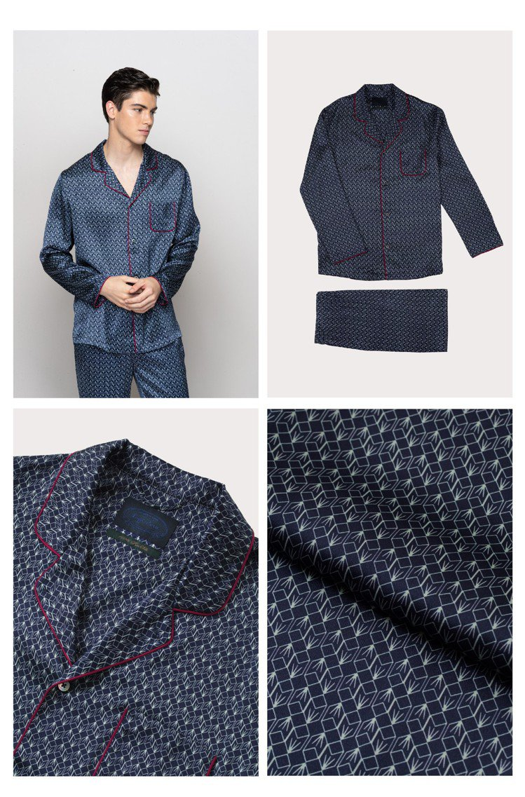 宋仲基選穿的happiestness的Hugo系列睡衣有酒紅色絲線緄邊,奢華精緻...