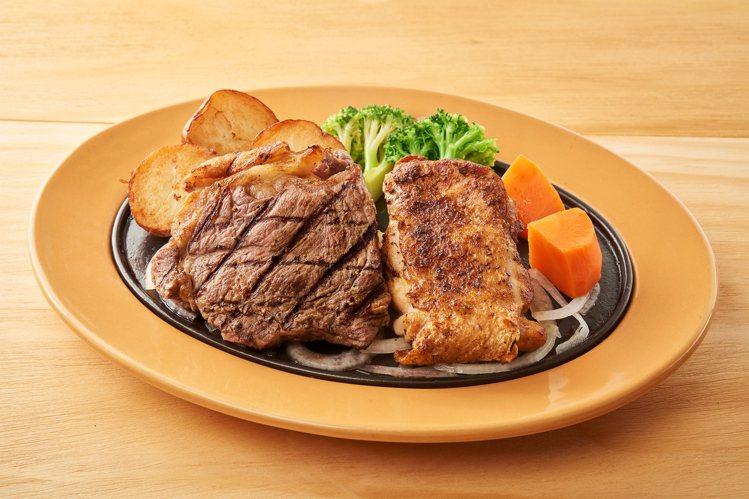 美國安格斯紐約客牛排&香料雞腿排,限時享「第2份半價」。圖/樂雅樂提供