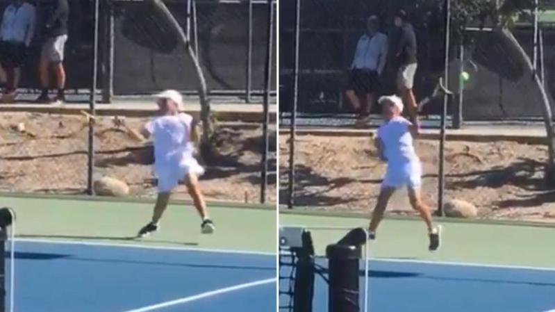 12歲大衛多夫用左右「全正手拍」擊球。 擷圖自畫面