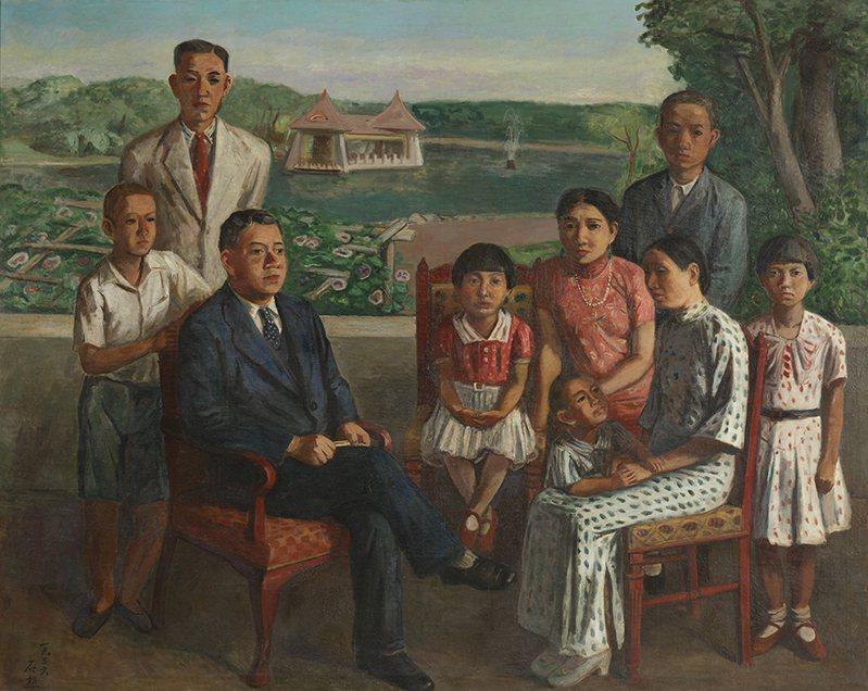 曾震撼日本天皇的李石樵畫作「楊肇嘉氏之家族」,首次公開展出。圖/國美館提供