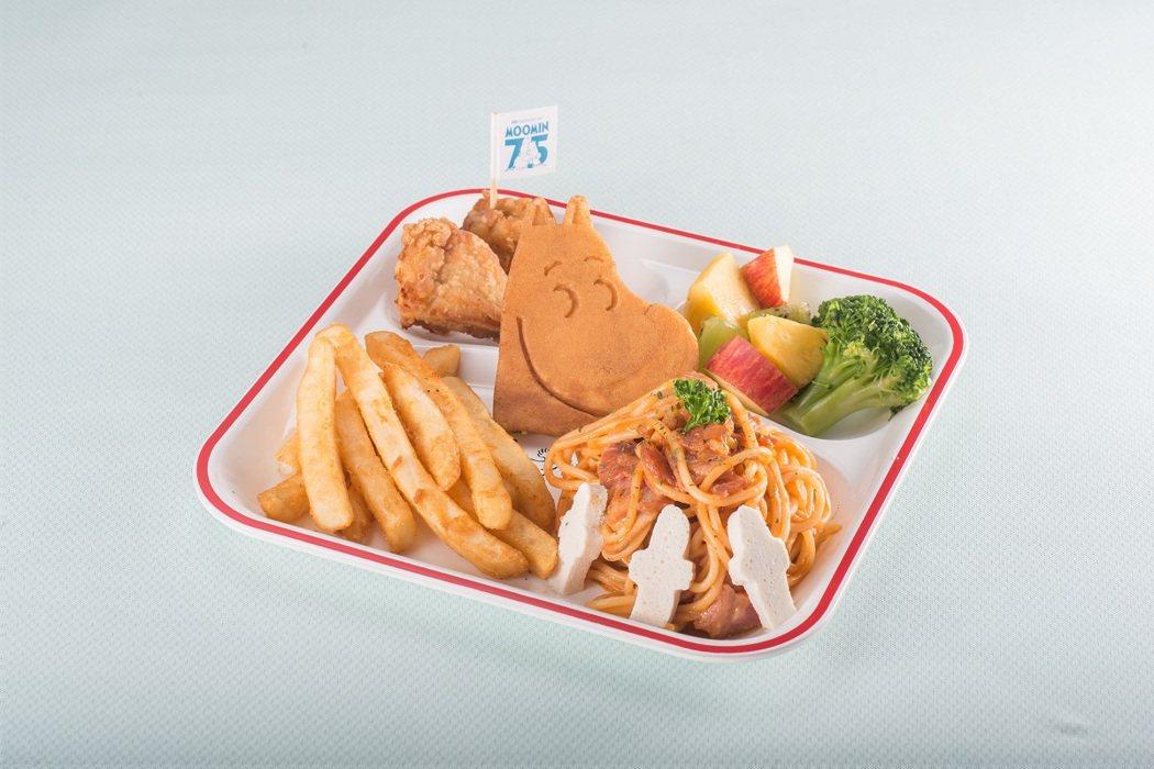 「粉紅醬培根義大利麵」兒童餐,每份200元。圖/嚕嚕米主題餐廳提供