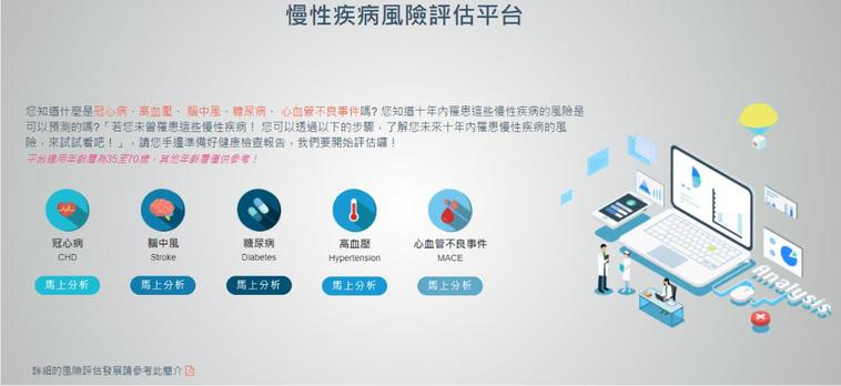民眾拿到健康檢查報告後,得依「台灣慢性疾病風險評估模型」,自行輸入健檢報告數據,...