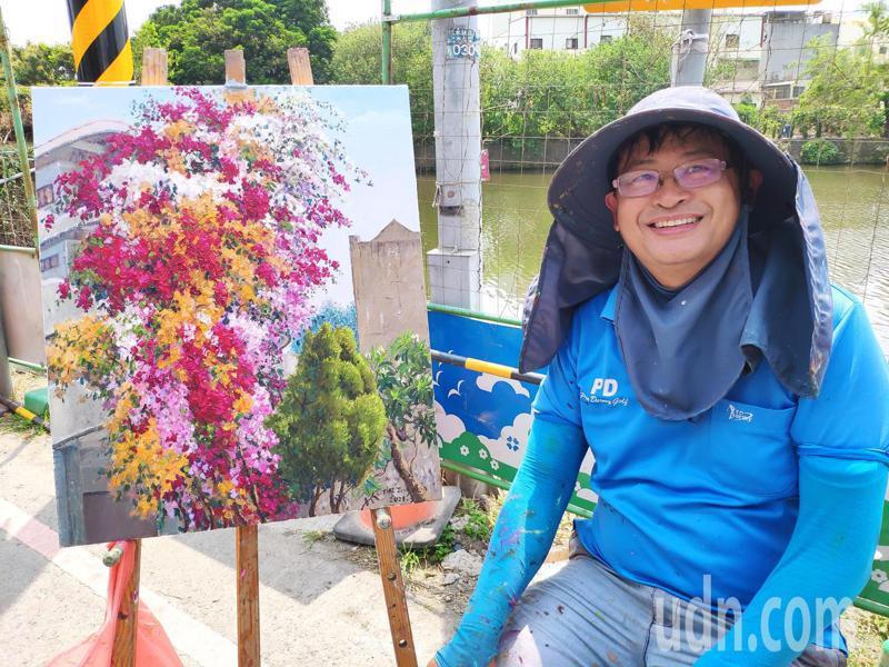 台南鹽水4層樓高九重葛綻放,退休美術老師蔡榮文寫生,作品維妙維肖,令人讚嘆。記者謝進盛/攝影