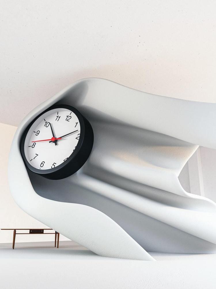 Daniel Arsham設計一款時鐘,結合鋼製材質表現時間流動的柔軟。圖/IK...