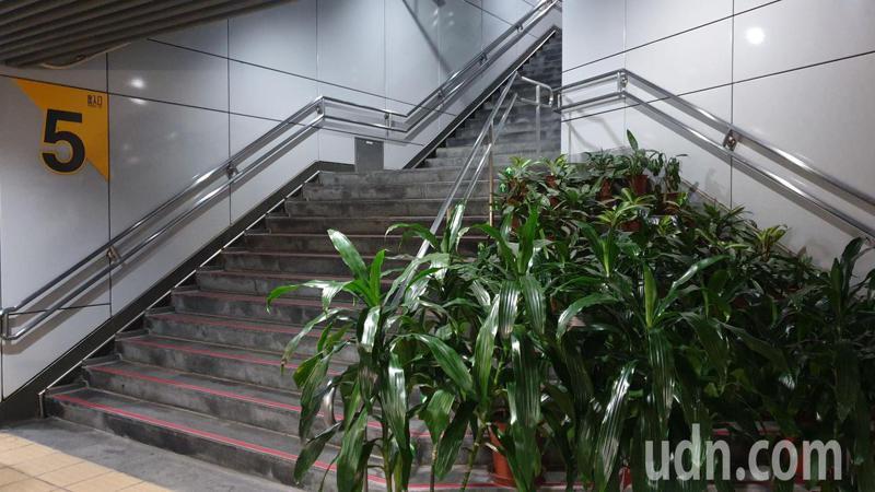 捷運大安區5號出入口因設計不良造成一旁有三角地帶畸零地,捷運局目前暫以盆栽擋住。記者胡瑞玲/攝影