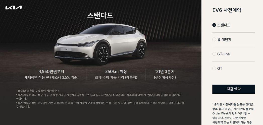 Kia標準里程版EV6預售價為4,950萬韓元 (約台幣126萬元)。 摘自Ki...