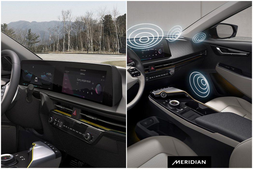 全新Kia EV6配置了結合數位儀表與中控螢幕的雙12吋曲面螢幕,並導入了具備1...