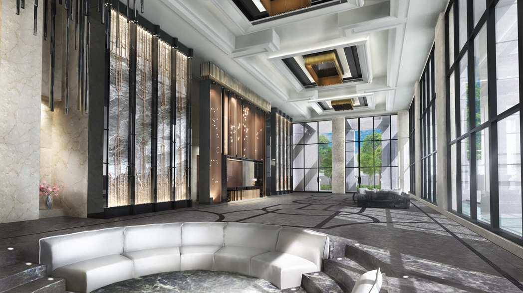 「鴻苑」挑高7米3迎賓大廳,展現豪邸氣勢。 業者/提供
