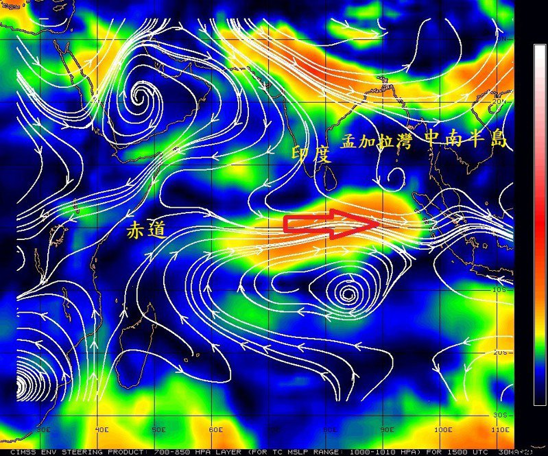 鄭明典表示,印度洋夏季風醞釀中,印度洋西風是我們西南季風的源頭,現在時間還太早,這股西風應該不會持久。圖/取自鄭明典臉書