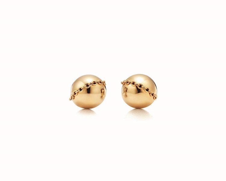 Tiffany HardWear 18K金球形設計耳環,32,000元。圖/Ti...