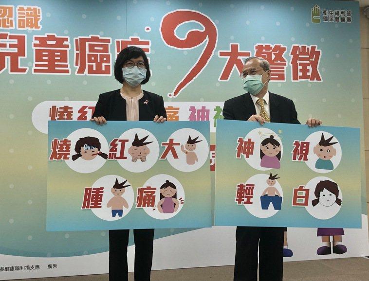 國健署代理署長賈淑麗(左)與兒童癌症基金會董事長林東燦(右)呼籲,若孩童發生「燒...