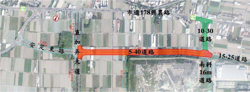 台南市政府將開闢南科北側的5-40M、10-30M計畫道路。圖/工務局提供