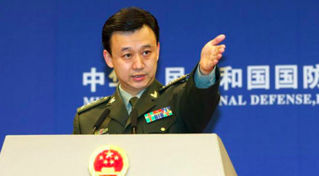 大陸國防部新聞發言人吳謙。(新浪微博照片)