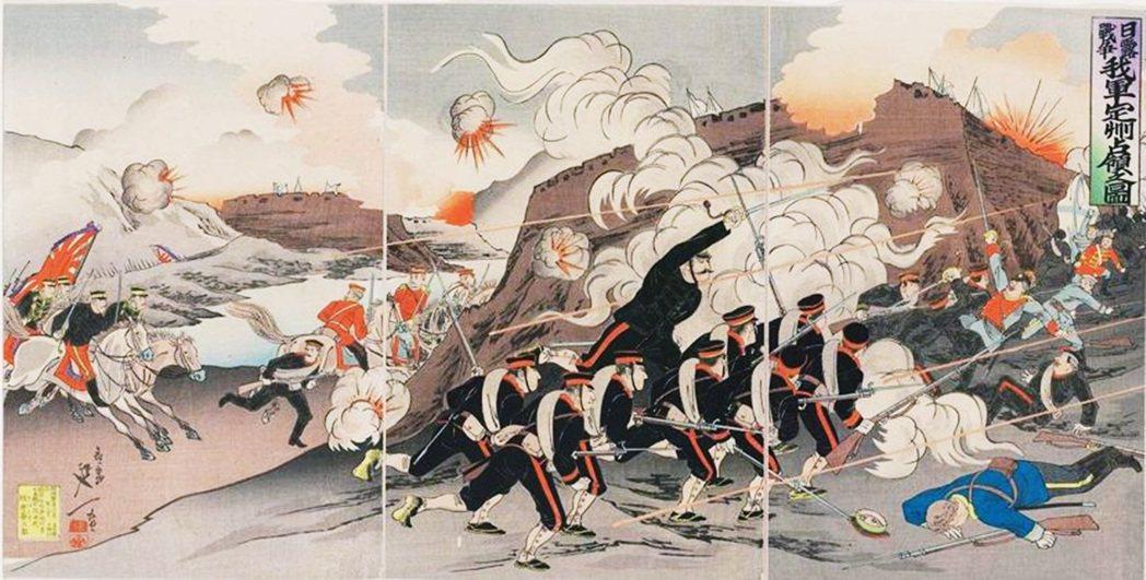 明治時代的浮世繪師楊斎延一,繪製的日俄戰爭題材。 圖/名古屋波士頓美術館