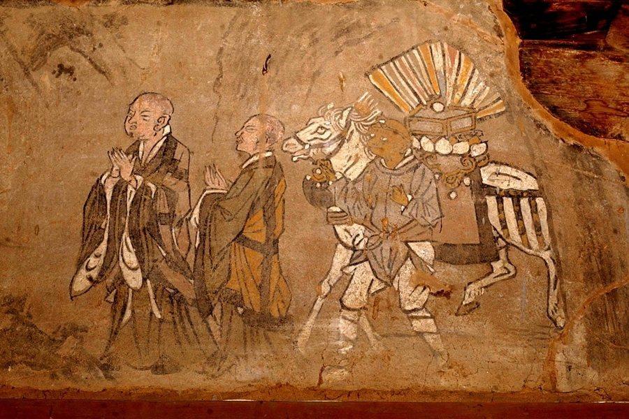 圖為山西稷山發現的玄奘取經圖壁畫,攝於2003年。 圖/新華社