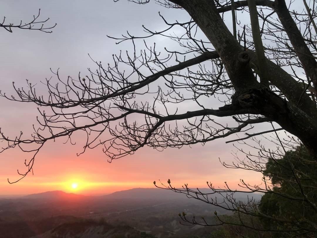 中寮山越嶺古道登山口,近來是觀賞日落的絕夯地點。 圖/ORT極路勇者工作坊提供