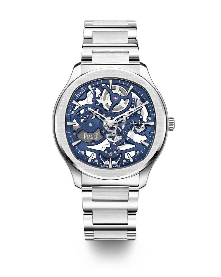 PIAGET Polo系列伯爵藍鏤空超薄精鋼腕表,約89萬5,000元。圖 / ...