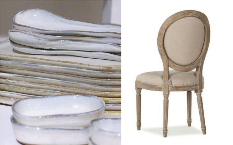 寬庭席爾斯食器與法國風情餐椅。圖/KUAN'S LIVING寬庭提供
